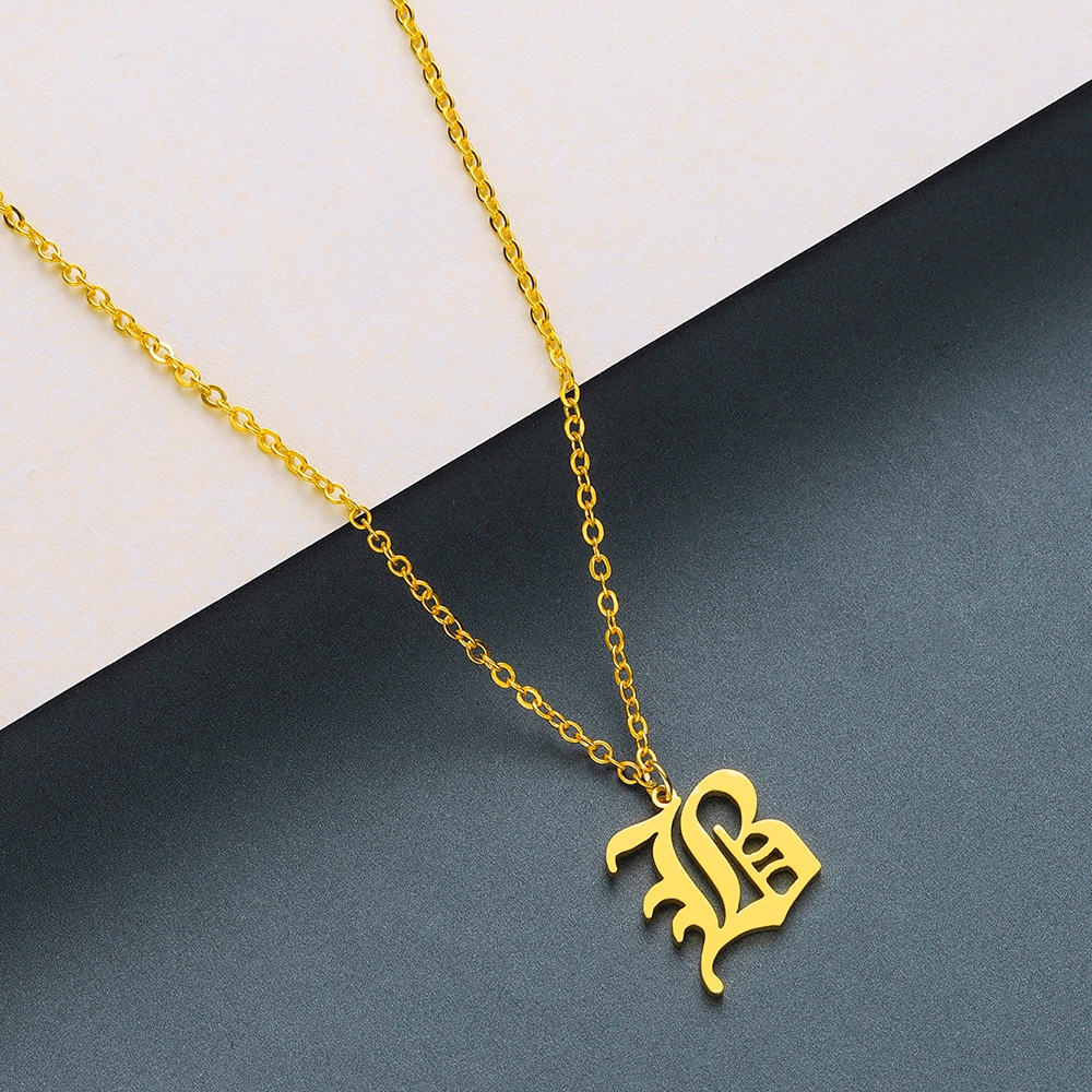 Todorova Old English Custom Capital Initial A-Z Letter Pendant Necklace Men Vintage Font Personalized Necklace Women Jewelry 4