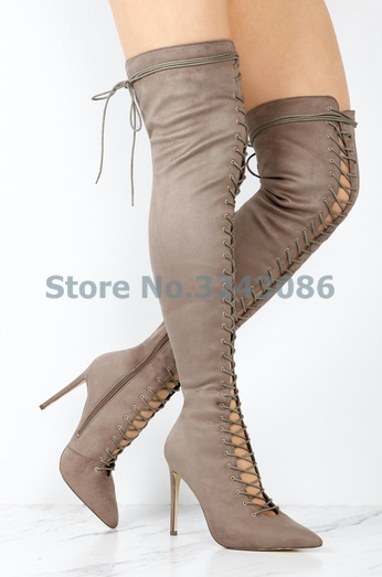 New Nude Black Gray Suede Over The Knee Long Boots Pointed Toe Cross Tied Lace Up Lady Boots Hollow Out Thin High Heel Shoes hollow pointed lady rough heel short boots