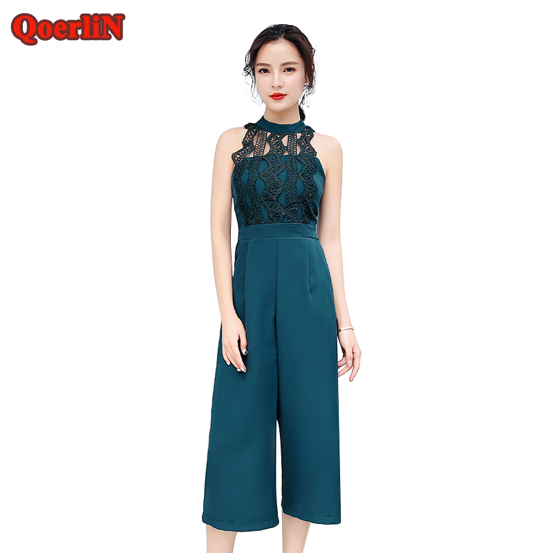 QoerliN Sexy Lace Hollow Out Jumpsuits 2018 Purple Strap Sleeveless Backless Zipper Romper Wide Leg Office Work Overalls S XL