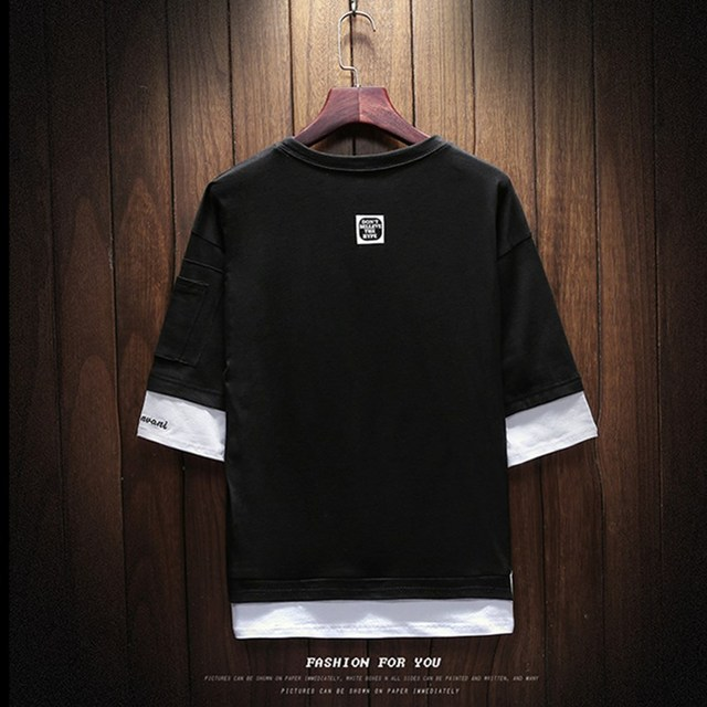 2018 Summer Korean Version Of The New Men's Belt Pendant Casual Round Neck Large Size Left Sleeve Zipper T-shirt Men's Clothing 3