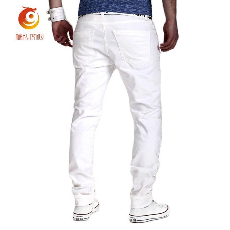 2017 Plus Taille Lavé Mode Hommes La Long Mince Jeans Trous Loisirs Pantalon Blanc Rétro Maigre 2xl Élasticité Nouveau De rTZv4cWrH
