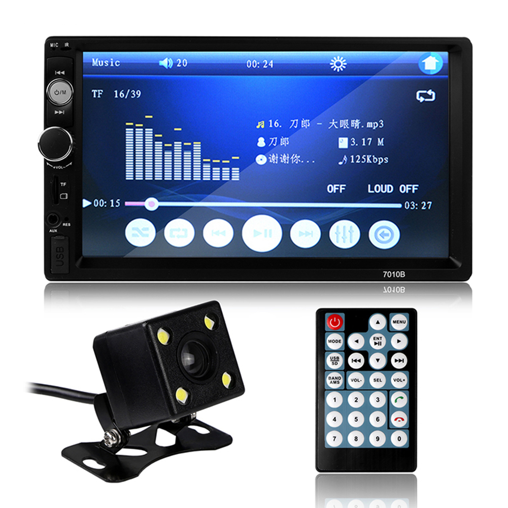 7010B Universal 2 Din Car MP5 Player Car Video Player Touch Screen Auto Audio Stereo Multimedia FM/MP5/USB/AUX/Bluetooth Camera 7018b radio