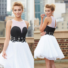 Schöne Weiße Kurze Abendkleid Fashion Perlen Und Applikationen Spitze Prom Kleider 2016 A-line Kurzen Abend Party Prom Kleider