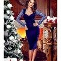 Royal Blue Velvet Cocktail Dresses Vestidos de coctel cortos 2016 Sexy Knee Length Open Back Lace Long Sleeves Party Prom Dress