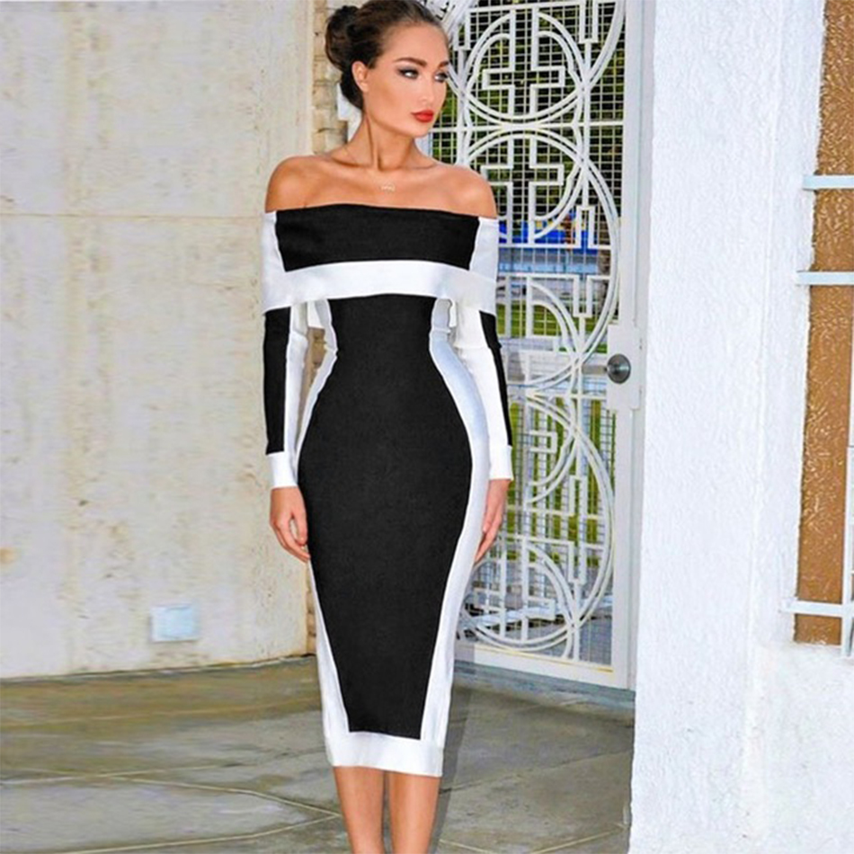 Seamyla New Long Sleeve Bodycon Bandage Dresses Women Vestidos 2019 Runway Party Dress Midi Celebrity Sexy