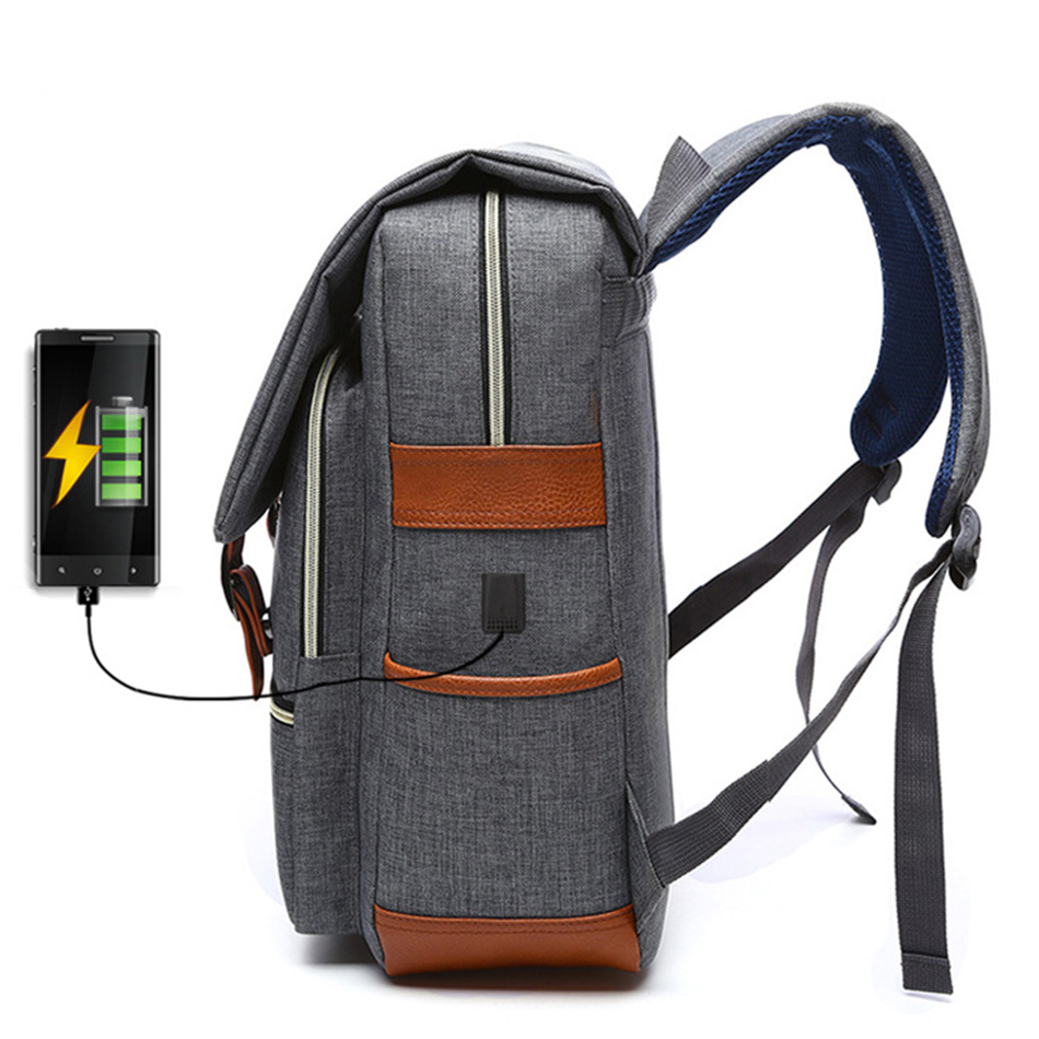 2018 Vintage Men Women Canvas Backpacks School Bags for Teenager Boys Girls Laptop Backpack with USB Charging Fashion Travel Bag (9)
