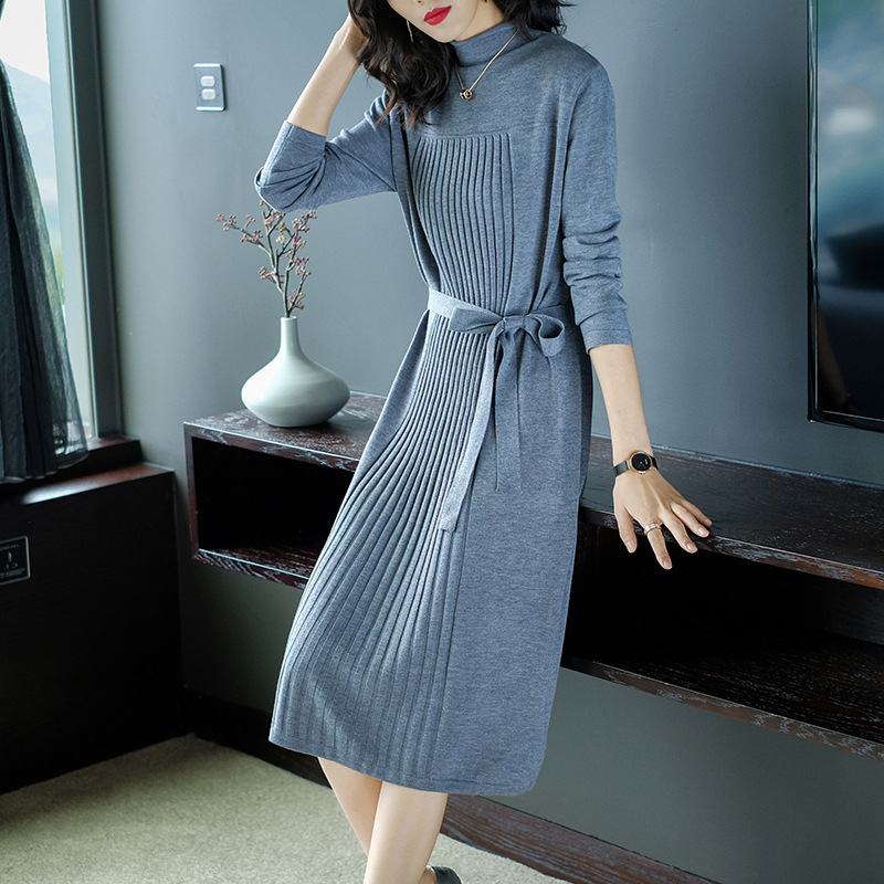 Sweater dress female winter turtleneck women long jumper warm knitted dresses Korean style winter dresses women 2018 AA4307