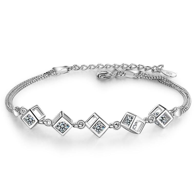 06b9324788ef Pulsera de eslabones de cadena de Plata de Ley 925 de moda de lujo para  mujeres brillantes de circonita cúbica de cristal de cumpleaños y joyería  ...