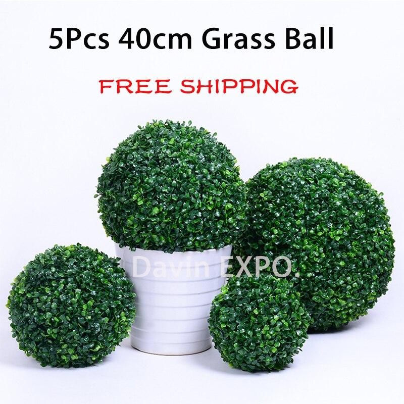 5 pièces 40 cm vert herbe boule plastique plante ornement fête décoration jardin décor mariage décoration fleurs artificielles