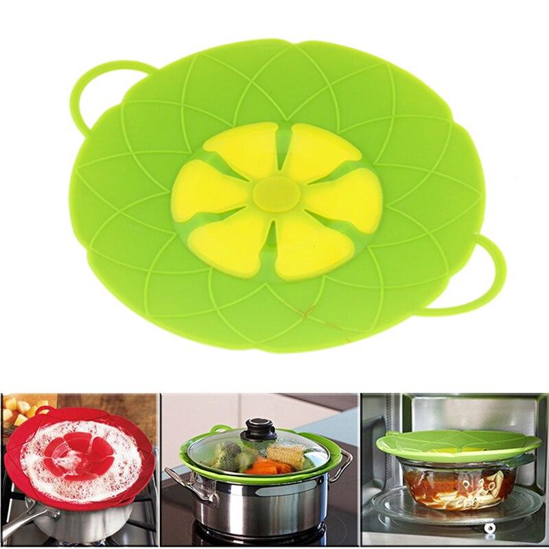 Multi-función de cocina herramientas flor Cookware piezas silicona verde hervir sobre la tapa de derrame tapón horno caja fuerte para pan 10