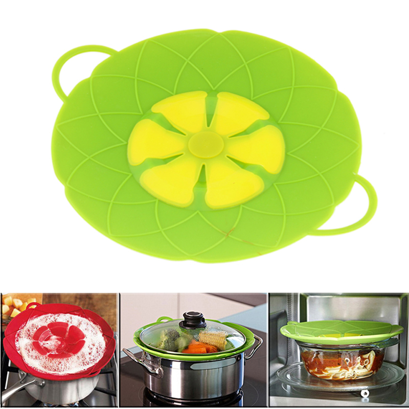 Multi-function Cooking Tools Flower Cookware Parts Green Silicone Boil Over Spill lid Stopper Oven Safe For Pot/Pan Cover 10""