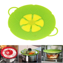 Multi-function Cooking Tools Flower Cookware Parts Green Silicone Boil Over Spill lid Stopper Oven Safe For Pot/Pan Cover 10″