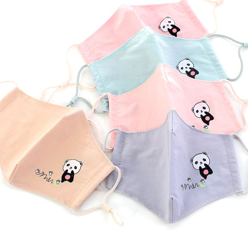 Children Kids Washable Cotton PM2.5 3D Anti Dust Mouth Mask Foldable Cute Cartoon Animal Printed Adjustable Straps