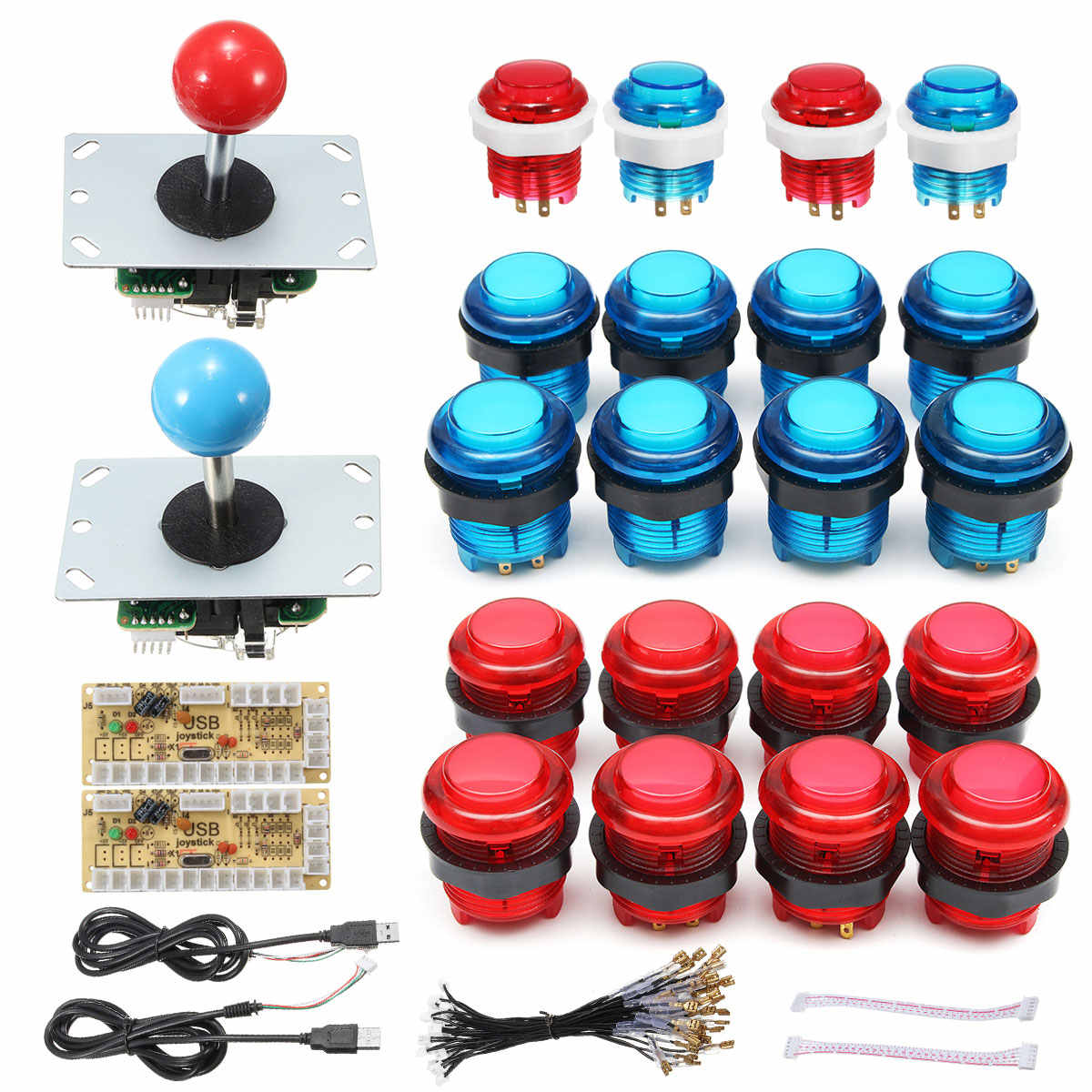 DIY Joystick Arcade Kits 2 Spieler Mit 20 LED Arcade Tasten + 2 Joysticks + 2 USB Encoder Kit + kabel Arcade-Spiel Teile Set
