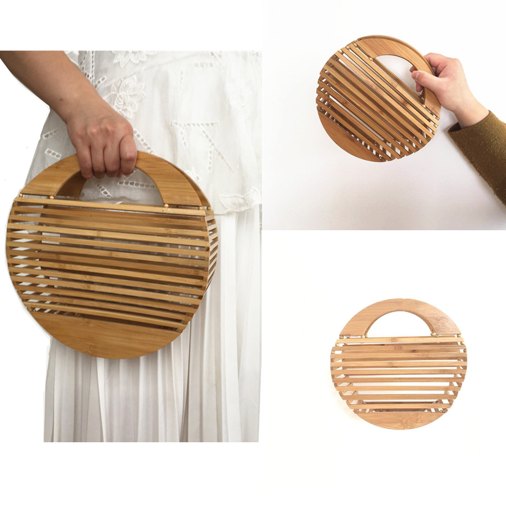 Bamboo Clutch Bag  Fashion Ladies Hand Bags Round Hollow Out Women Handbags 2019 Summer Beach Bags
