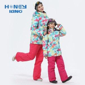 Image 2 - Trajes de esquí de las muchachas de la madre impermeables calientes chaquetas de esquí del snowboard de los niños a prueba de viento + pantalón de invierno adultos niños ropa de esquí traje