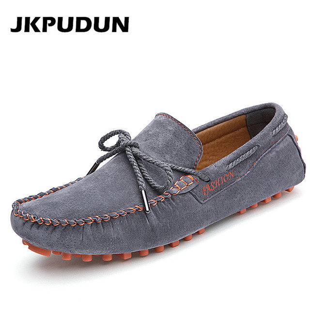 JKPUDUN Luxury Mens Loafers Nubuck Leather Driving Shoes