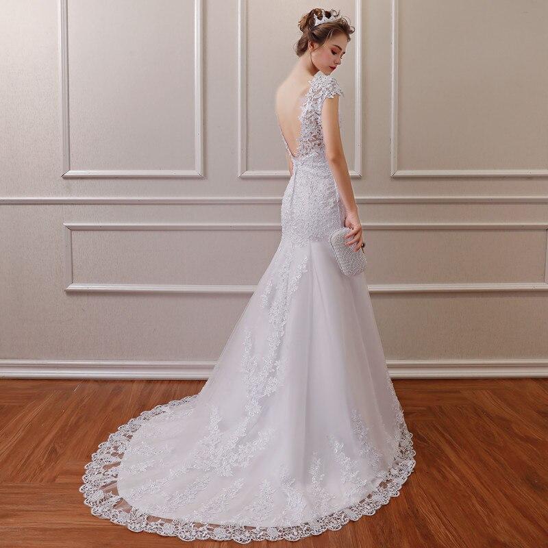 2019 nouvelle Illusion Vestido De Noiva blanc dos nu dentelle sirène robe De mariée Cap manches robe De mariée robe - 3