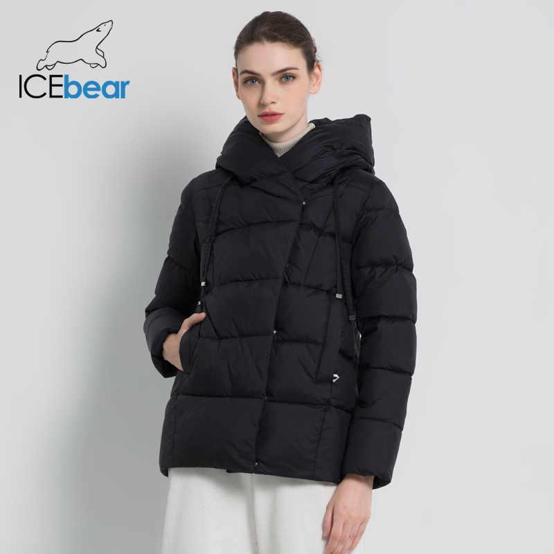 ICEbear 2019 새로운 겨울 여성 코트 브랜드 의류 캐주얼 숙녀 겨울 재킷 따뜻한 숙녀 짧은 후드 의류 GWD19011