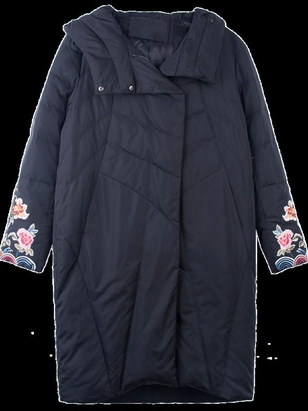 Blanc Parkas xl Le Floral M Fleurs Vintage Bas Femmes De Lady Manteau Femelle Broderie Veste Royal Canard Lâche Duvet Noir Vers D'hiver ORqxpSnTw