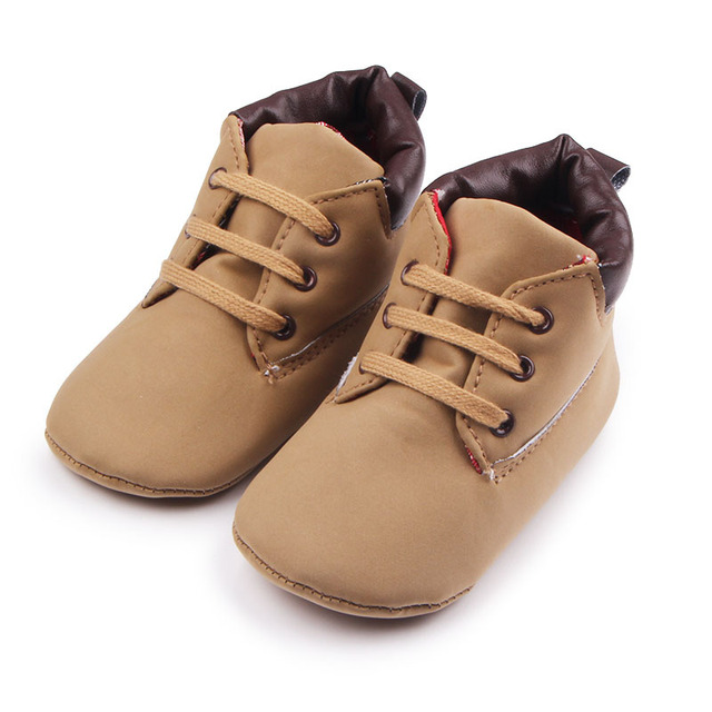 2016 Spring Autumn 0-1 PU Leather Retro New Arrival Hot Sale Newborn Baby Boys Lace Up High Top Soft Soled Fashion First Walker