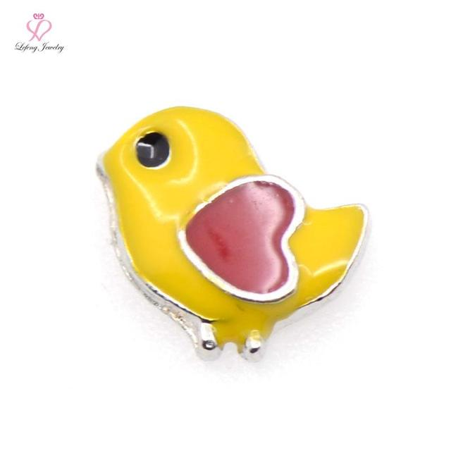 New Design Cute Small Birds Heart floating charms for Glass Memory Floating Lockets FC571