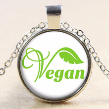 Antique Vegan Necklace / Glass Pendant