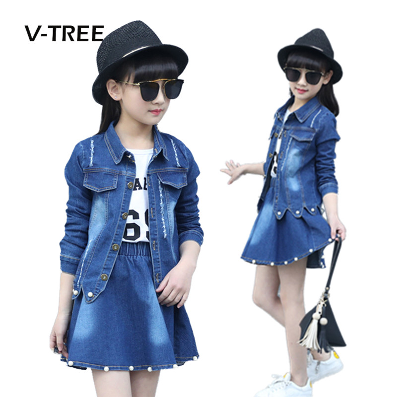 V-TREE Girls Clothing Sets Denim Jacket And Skirts Suit Sets For Girl Teenage Clothes School Kids Childrens Baby Clothes 12 10T new 2016 girls high quality denim jacket clothing sets 3pcs kids clothes sets girls lace shirt baby girl clothing sets