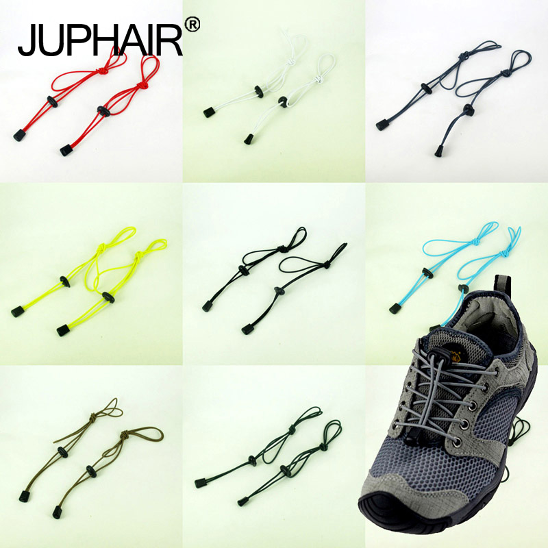JUP 12 Pairs Adult Child Colorful Locking Shoe Laces Black Buckle Elastic Shoelaces Shoestrings Jogging Triathlon Sports Fitnes