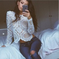 Blusas Femininas 2015 New Sexy Hallow Lace Blouses Women Long Sleeve Sheer Crop Top Embroidery Floral