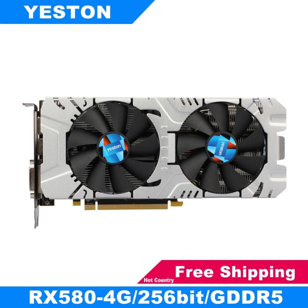 Yeston RX580 Graphics Card 256bit GDDR5 PCI-Express 3.0 Gaming Desktop Computer PC Video Graphics Cards Support DVI-D HDMI DP цена