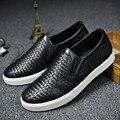 Famoso Diseñador de la Marca de Lujo del Cuero Genuino Tejida Zapatos de Los Hombres de Primavera Otoño Moda Casual Hombres Pisos Mocasines Tamaño 39-44