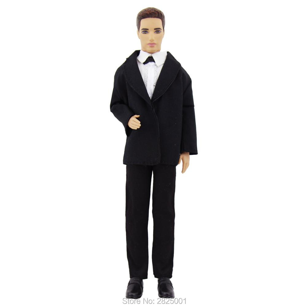 Handmade Classic Tuxedo 3in1 Outfit Black Formal Suit Jacket White Shirt Bowknot Trousers Uniform Clothes For Barbie Ken Doll