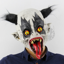 Scary Clown Mask Costume Cosplay Horrible Bat Style Clown Mask Halloween Costume For Adult Carnival Performance Party Props stage performance show clown style mask white red