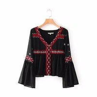 UZ8532 Za Autumn Women Foral Embroideried V Neck Exotic Fare Sleeve Blouses Shirt Womens Camisa Loose