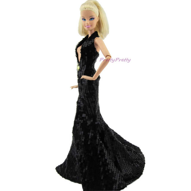 5a84907a29408 US $29.99 |FREE SHIPPING Fashion Sexy Black Paillette Fishtail Dress  Wedding Party Gown Princess Clothes For Barbie Doll Accessories Gift-in  Dolls ...