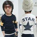 Crianças Menino Camisas Padrão de Estrela de Manga Comprida Tops T-shirt Da Criança Do Bebê Roupas de Primavera