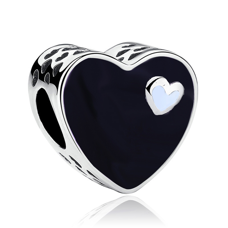 Valentine Original Silver Plated Black Enamel Heart Bead Charm Fit European Pandora Charm Bracelets Jewelry Making Accessories