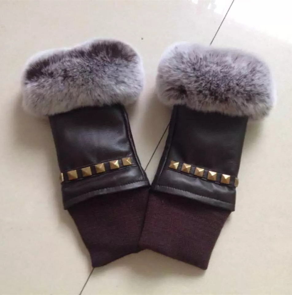 Ladies leather gloves nz - Plus Velvet Womens Fingerless Gloves Fashion Rivet Autumn Winter Warm Ladies Rex Rabbit Fur Genuine Leather
