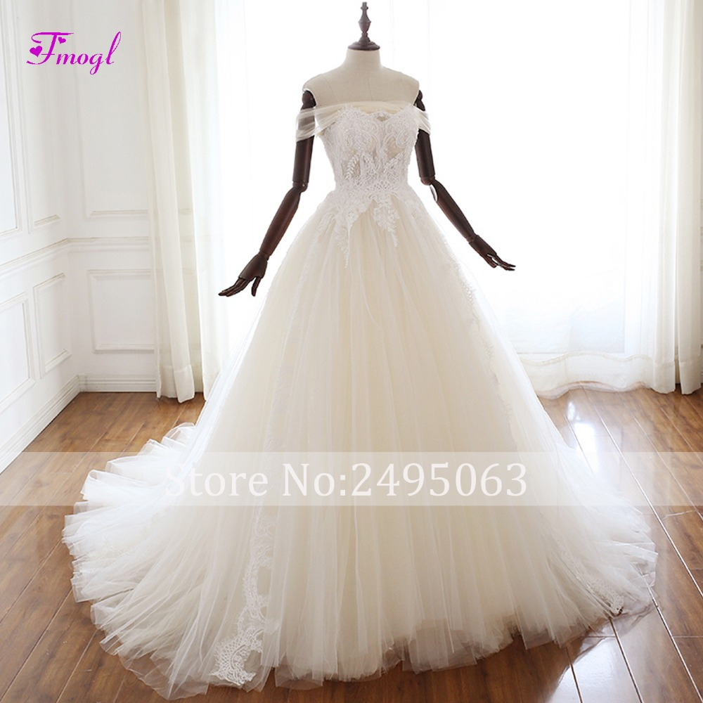 Fmogl Sexy Boat Neck Lace Up A Line Wedding Dress 2019 Gorgeous Appliques Beaded Princess Bridal Gown Vestido de Noiva Plus Size-in Wedding Dresses from Weddings & Events    3