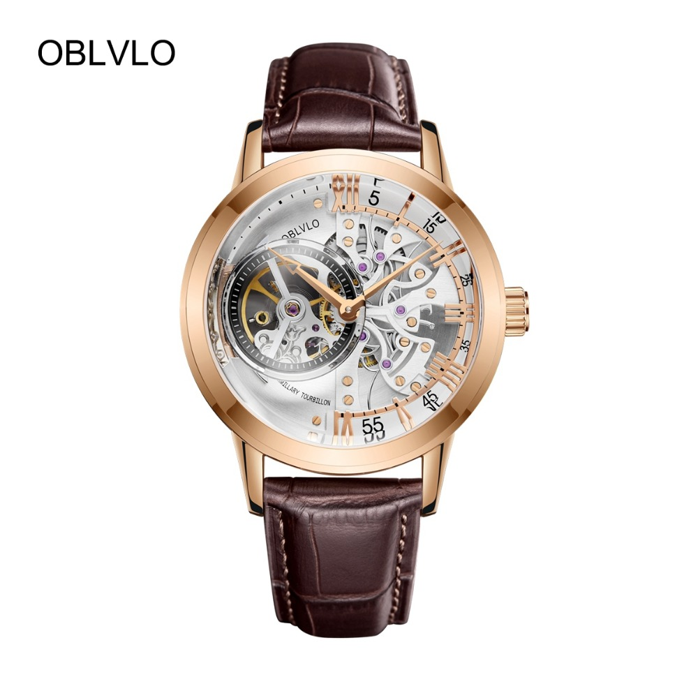 OBLVLO Luxury Casual Watches Rose Gold Tone Genuine Leather Strap Skeleton Automatic Watches for Men VM 1 1