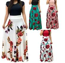 Летнее платье с коротким рукавом и высокой талией длинное женское