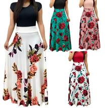 Summer Dress Short Sleeve High Waist Long Dresses Robe Femme Floral Print Colorblock Maxi