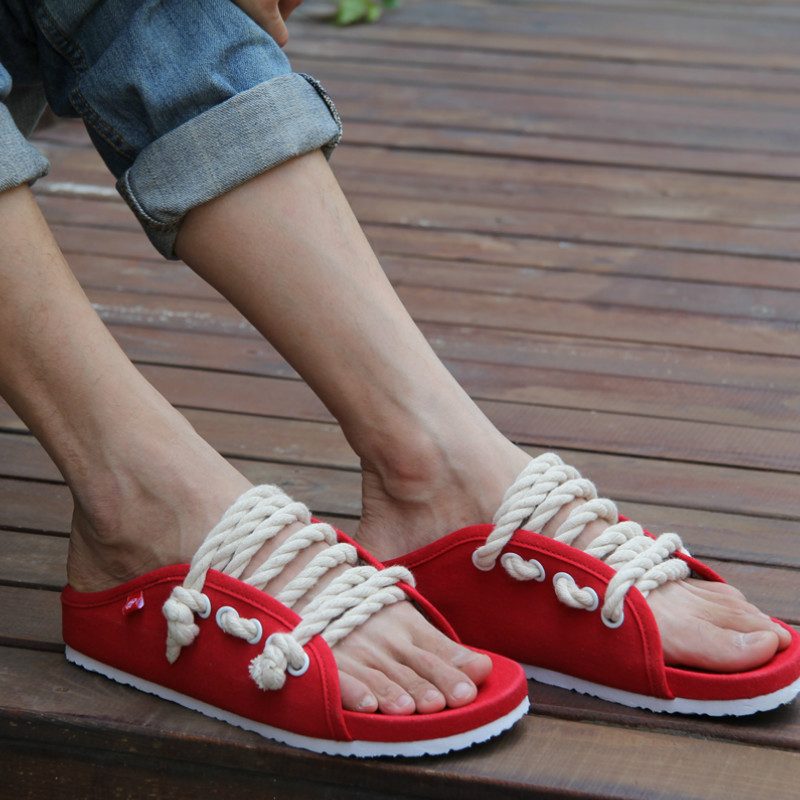 New 2018 Summer Cool Mens Slippers Shoes Beach Best Sandals Fashion Canvas Men Flip Flops Sandals Washable Male Slippers