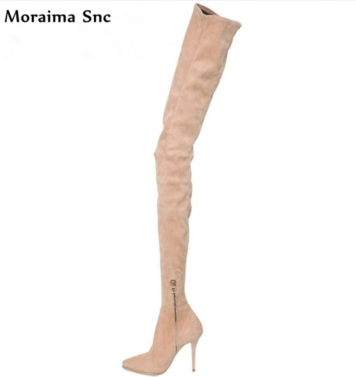 Moraima Snc pleated vintage velvet Spring Fall fashion women Boots  pointed toe over-Knee-high Gladiator boot stilettos heelMoraima Snc pleated vintage velvet Spring Fall fashion women Boots  pointed toe over-Knee-high Gladiator boot stilettos heel