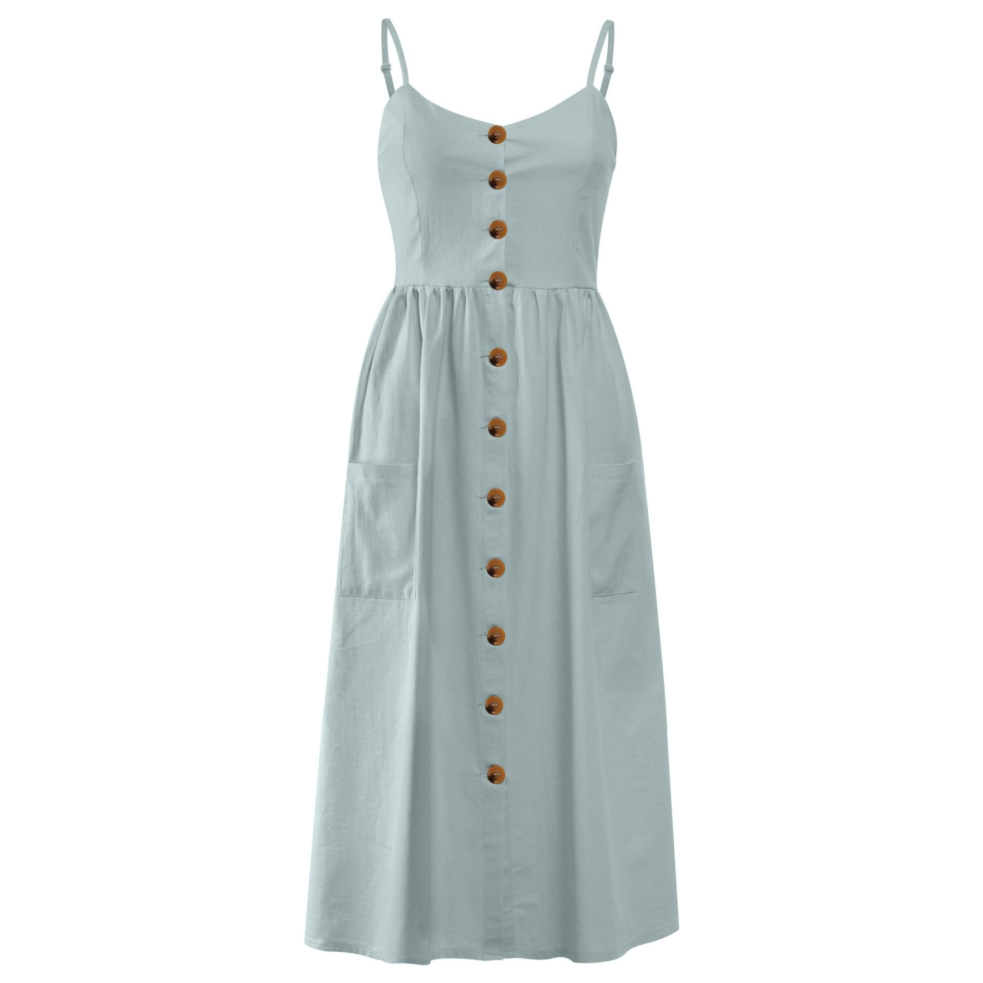 Button Striped Print Cotton Linen Casual Summer Dress 19 Sexy Spaghetti Strap V-neck Off Shoulder Women Midi Dress Vestidos 14