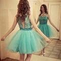 Lovely 2016 New Summer Sexy Mint  Mini Short Doll Collar Lace Tulle Cocktail Dresses Party Dress robe de cocktail Custom Size