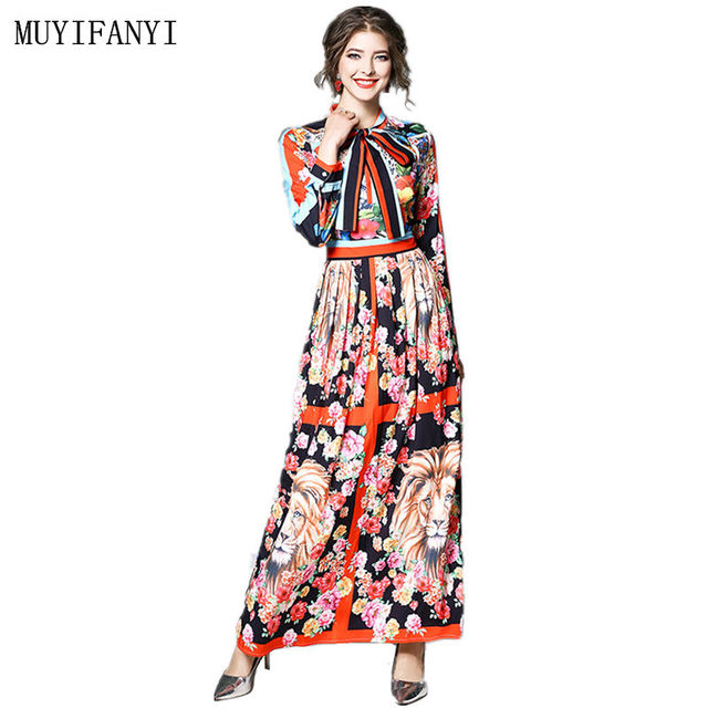 363607d4abbe2 High Quality 2018 Spring Designer Runway Dress Womens Long Sleeve Elegant  Floral Print Casual Maxi Long Dress Vestidos Robe-in Dresses from Women's  ...