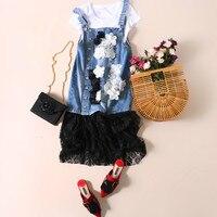 Летние джинсовые платья Для женщин Свободные Кружева Сращивание Цветочные аппликации Джинсовое платье Спагетти ремень платье рубашка и пл