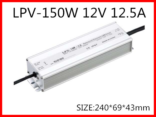 150W 12V 12.5A LED constant voltage waterproof switching power supply IP67 for led drive LPV-150-12 90w led driver dc40v 2 7a high power led driver for flood light street light ip65 constant current drive power supply